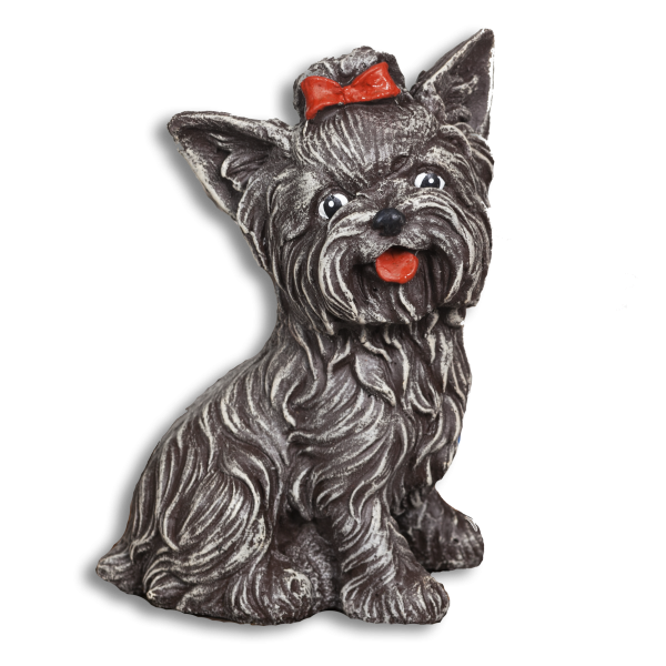 Kutya kerti figura - szürke yorki