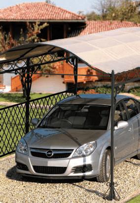 Carport kerti pavilon autóval
